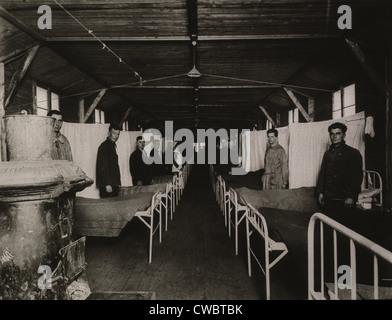 Une grippe Ward de l'hôpital de la base de l'Armée américaine à Langres, France au cours de l'épidémie de grippe Banque D'Images