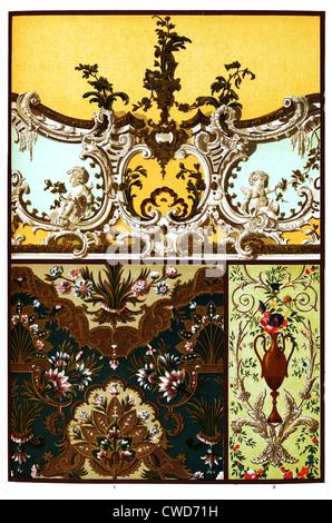 Xvii et XVIII. Siècle, murs et plafond en stuc décorations Banque D'Images