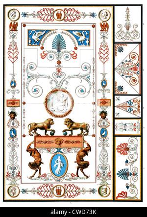 XIX. Siècle peinture murale et peinture de plafond Banque D'Images