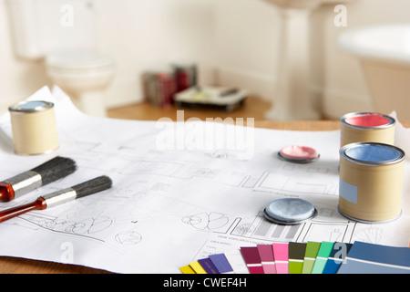 Les outils et les matériaux de décoration Banque D'Images