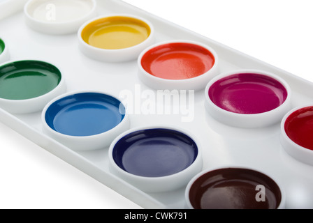 Nouvelle boîte de peintures aquarelle isolated on white Banque D'Images