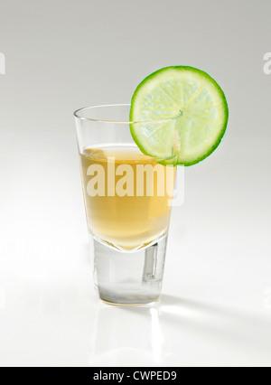 Un verre de tequila et une tranche de citron vert sur un fond gris