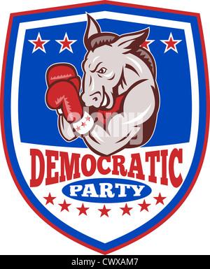 Illustration d'un démocrate âne mascotte de la grand old party avec des gants de boxe boxeur gop situé à l''intérieur de shield