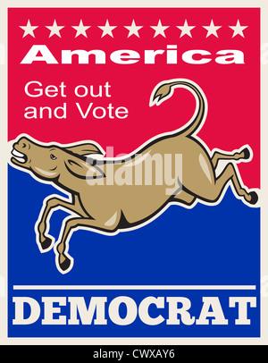"""Illustration de l'affiche d'une mascotte âne démocrate du parti démocratique à l'expression """"Nord aller voter démocrate'"""