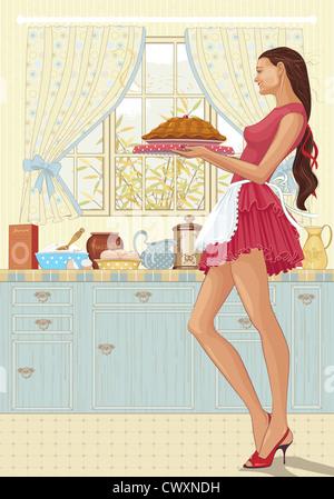 Belle Jeune femme tenant un plateau de gâteaux fraîchement préparés dans la cuisine Banque D'Images