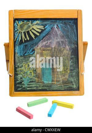 Crayon de couleur craie sur un fond blanc isolé. Banque D'Images