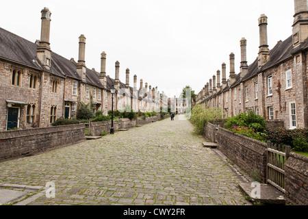Dans les puits près de vicaires Somerset. Avis de ce qui est purement la plus ancienne rue résidentielle dans l'Europe.