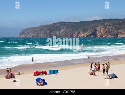 Jour de vent sur la plage de Guincho, Cascais, Côte de Lisbonne, Portugal, Estremadura