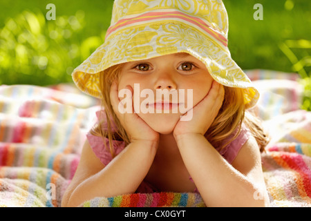 Young Girl Wearing Floppy Hat