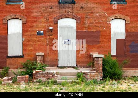 Aucun signe d'intrusion sur le vieux bâtiment abandonné Banque D'Images