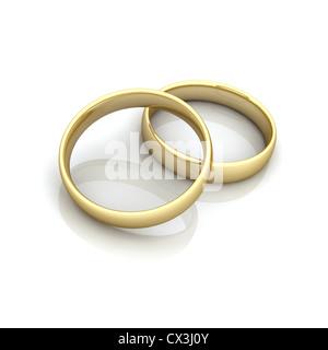 2 Ringe beieinander, symbole für Fusion / Heirat - 2 anneaux, symbole du mariage / fusion Banque D'Images
