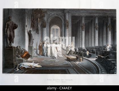 Assassinat de Jules César, 44BC, Hand-Colored Gravure Banque D'Images