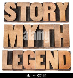 Histoire, mythe, légende - storytelling concept - des mots isolés dans la typographie vintage type de bois Banque D'Images