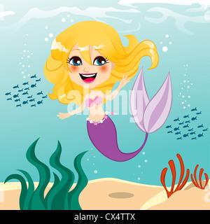 Belle petite sirène fille heureux nager sous l'eau Banque D'Images