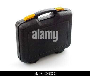 Boîtier noir en plastique avec des outils isolated on white Banque D'Images