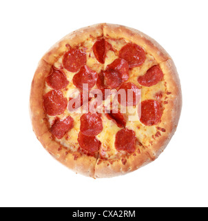 Pour voir pizza isolé sur fond blanc Banque D'Images