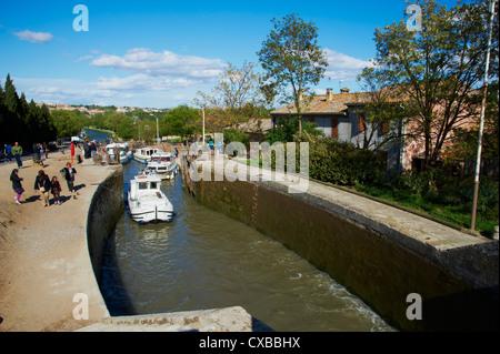 Écluses de Fonserannes, Canal du Midi, classé au Patrimoine Mondial de l'UNESCO, Béziers, Hérault, Languedoc, France, Banque D'Images