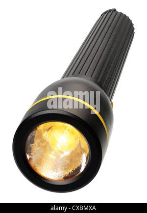 La lumière électrique dans un boîtier en plastique noir, isolé Banque D'Images