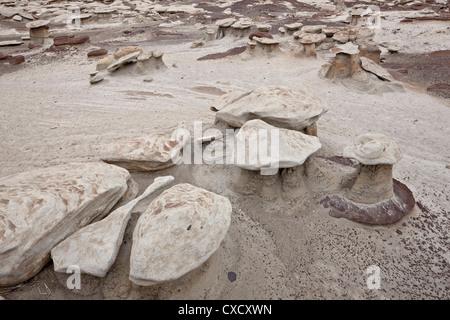 Les petites formations de champignons dans les badlands, Bisti Wilderness, Nouveau Mexique, États-Unis d'Amérique, Banque D'Images