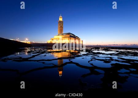 Mosquée Hassan II, la troisième plus grande mosquée du monde, Casablanca, Maroc, Afrique du Nord, Afrique Banque D'Images