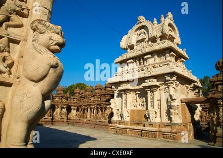 Temple Kailasanatha datant du 8e siècle, Kanchipuram, Tamil Nadu, Inde, Asie