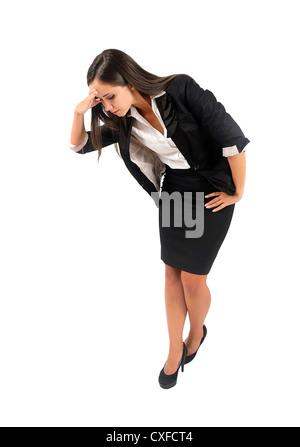 Les jeunes isolés business woman looking down Banque D'Images