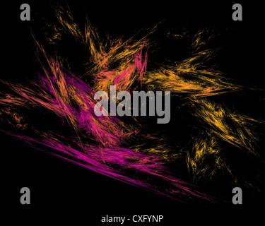 Abstract Art Fractal rayures jaune et violet sur fond noir Banque D'Images