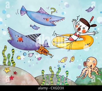 Illustration d'une fille avec un swimtube d'être effrayé par les requins Banque D'Images