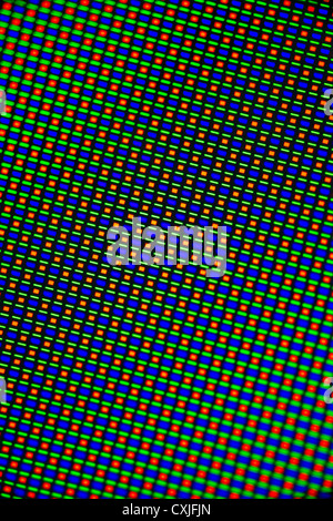 La photomicrographie de pixels d'un écran tactile de Samsung. Super AMOLED HD (1280 x 800 pixels, 5,3 ', 285 ppi WXGA).