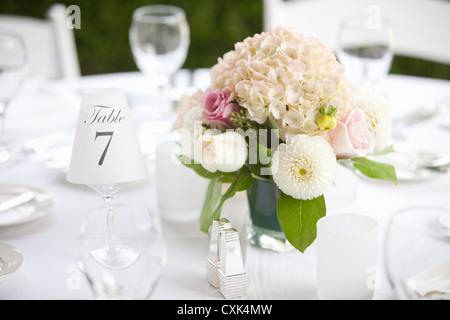 Pièce maîtresse sur table au mariage, Toronto, Ontario, Canada