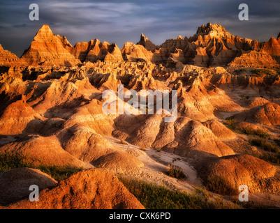 Des formations rocheuses érodées dans Badlands National Park (Dakota du Sud). Banque D'Images