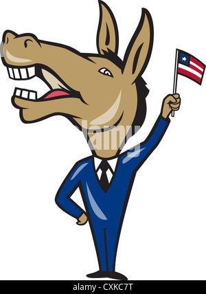 Illustration d'une mascotte âne démocrate du parti démocratique forme american stars and stripes flag fait en style cartoon.