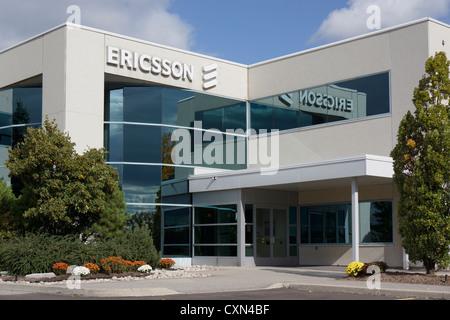Ericsson, enseigne à l'extérieur de l'entreprise office, Mississauga, Ontario, Canada Banque D'Images