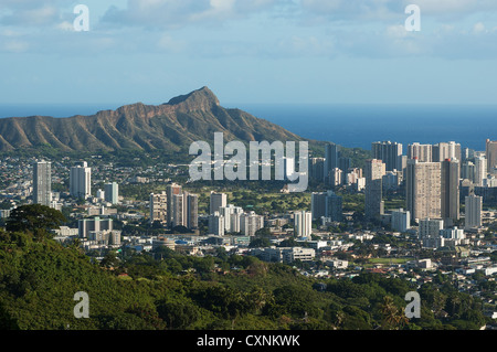 Elk284-1652 Hawaii, Oahu, Honolulu, Waikiki avec Diamond Head Banque D'Images