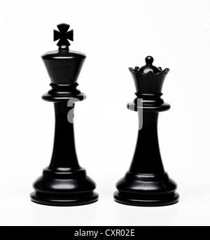 Roi et Reine d'échecs pièces Banque D'Images