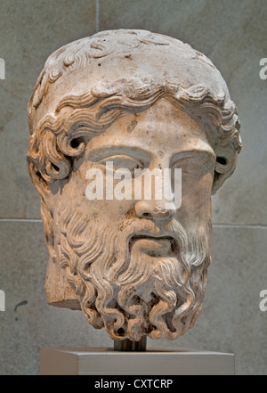 En tête d'un herm 1st-2ème siècle A.D Roman 37 cm Copie d'un marbre grec herm de ca. 450-425 av. Banque D'Images