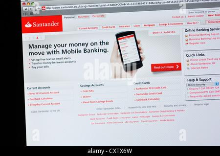 Site web de la Banque Santander - services bancaires en ligne Banque D'Images
