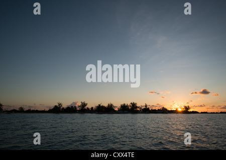 Coucher de soleil sur une île tropicale (Brésil) dans le British Virgin Islands Banque D'Images