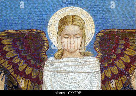 Mosaïque murale, Angel, à l'église de la Transfiguration, le Mont Thabor, en Galilée, Israël, Moyen Orient Banque D'Images