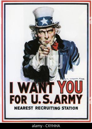 Affiche de recrutement de l'ARMÉE AMÉRICAINE 1917 conçu par James Flagg (1877-1960) Banque D'Images