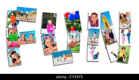Montage de jeunes enfants actifs ayant l'amusement jouer heureux et souriant Banque D'Images