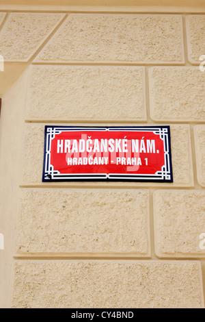 Hradcanske Nam street sign in Prague Banque D'Images