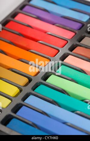 Soft pastels de l'artiste dans des couleurs différentes. Banque D'Images