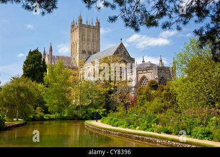 Wells Cathedral et l'Évêché de douves, Somerset, England, UK