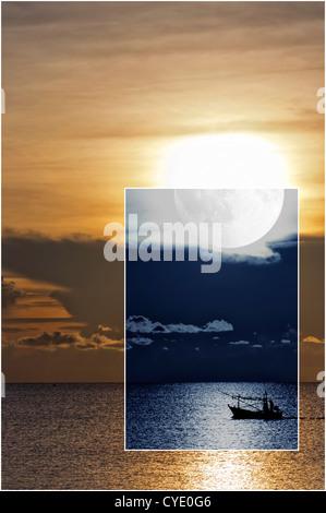 Une image conceptuelle décrivant la nuit et la journée d'un bateau de pêche de la voile sur la mer ouverte. Banque D'Images