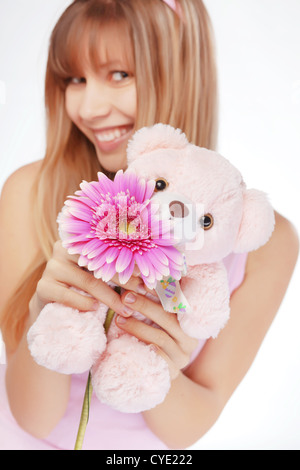 Portrait de belle jeune fille romantique dans la région de Valentines Day Banque D'Images