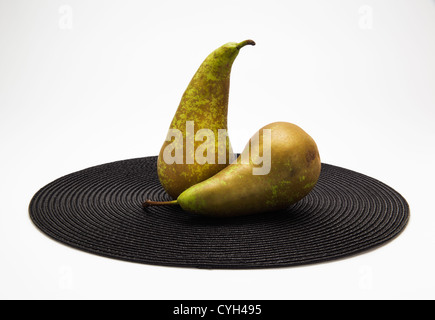Deux poires sur place noir mat