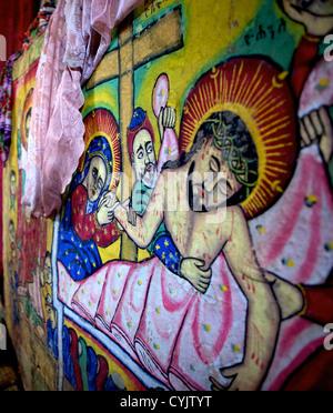 Peintures murales dans le monastère chrétien au 16e siècle et l'église, la péninsule de Zege, Lac Tana, Ethiopie, Banque D'Images