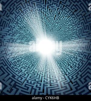 Solution à partir de la confusion avec un labyrinthe labyrinthe en trois dimensions ou en perspective et un trou Banque D'Images