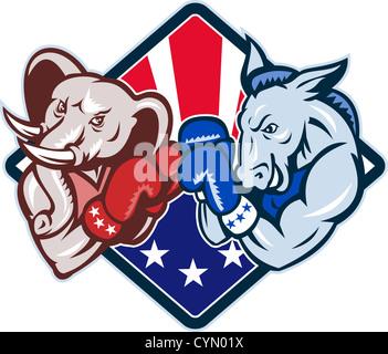 Illustration d'un démocrate âne mascotte du grand vieux parti démocratique et républicain gop boxer avec des gants de boxe d'éléphants